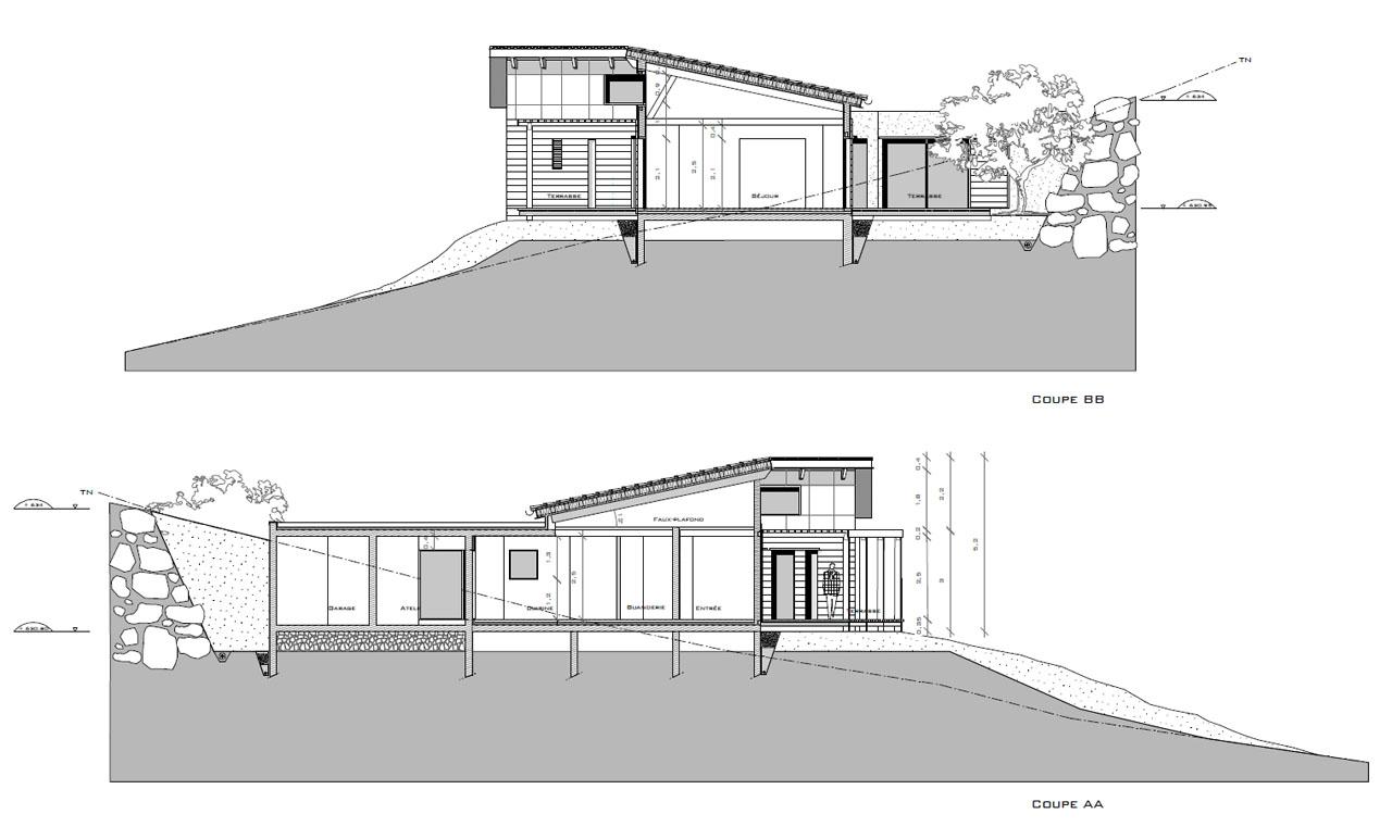Maison g lhenry architecture for Plan maison en pente